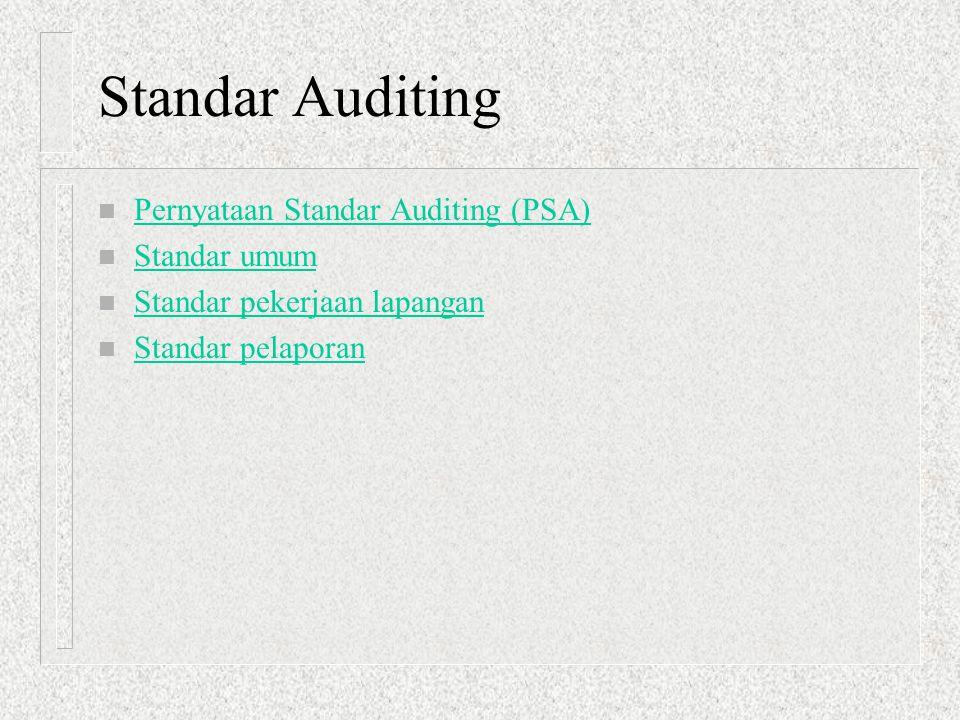 Standar Auditing n Pernyataan Standar Auditing (PSA) Pernyataan Standar Auditing (PSA) n Standar umum Standar umum n Standar pekerjaan lapangan Standa