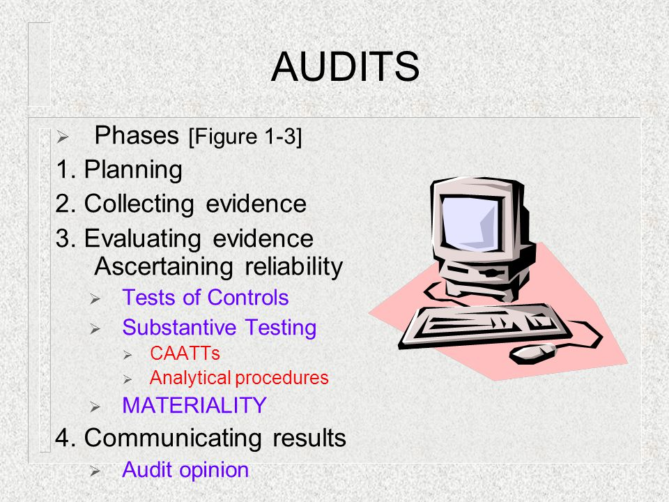 AUDITS  Phases [Figure 1-3] 1. Planning 2. Collecting evidence 3. Evaluating evidence Ascertaining reliability  Tests of Controls  Substantive Test