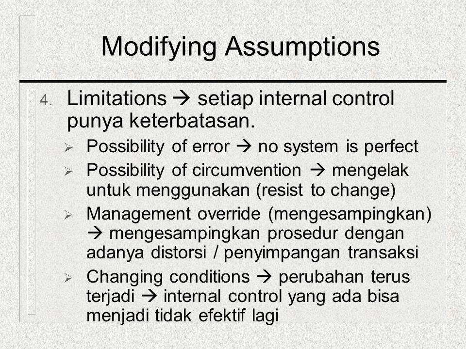 4. Limitations  setiap internal control punya keterbatasan.  Possibility of error  no system is perfect  Possibility of circumvention  mengelak u