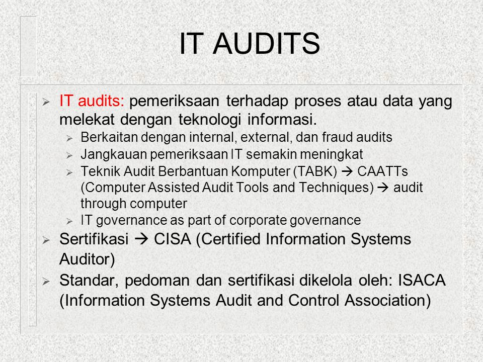 SAS 78 (#1:Control Environment -- elements)  Menjadi landasan untuk 4 komponen yg lain:  The integrity and ethical values  Structure of the organization  Participation of audit committee  Management's philosophy and style  Procedures for delegating