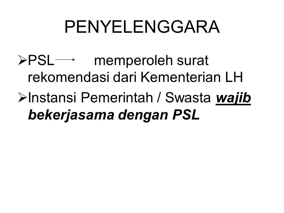PENYELENGGARA  PSL memperoleh surat rekomendasi dari Kementerian LH  Instansi Pemerintah / Swasta wajib bekerjasama dengan PSL