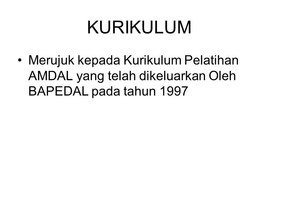 KURIKULUM Merujuk kepada Kurikulum Pelatihan AMDAL yang telah dikeluarkan Oleh BAPEDAL pada tahun 1997