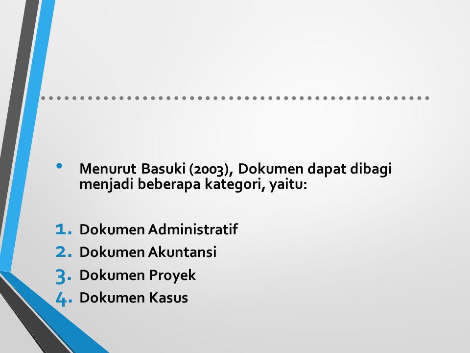 Menurut Basuki (2003), Dokumen dapat dibagi menjadi beberapa kategori, yaitu: 1. Dokumen Administratif 2. Dokumen Akuntansi 3. Dokumen Proyek 4. Dokum