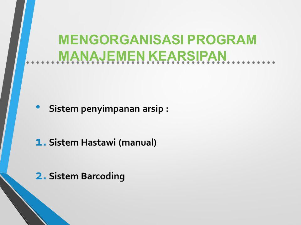 MENGORGANISASI PROGRAM MANAJEMEN KEARSIPAN Sistem penyimpanan arsip : 1. Sistem Hastawi (manual) 2. Sistem Barcoding