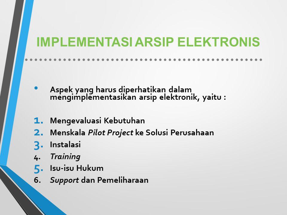 IMPLEMENTASI ARSIP ELEKTRONIS Aspek yang harus diperhatikan dalam mengimplementasikan arsip elektronik, yaitu : 1. Mengevaluasi Kebutuhan 2. Menskala