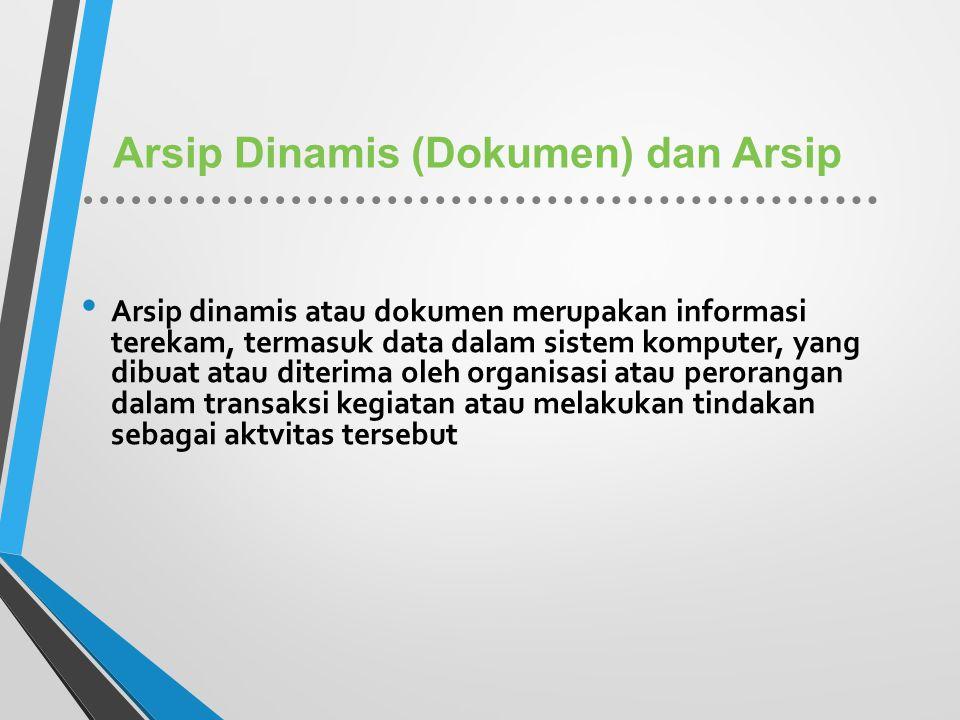 Arsip Dinamis (Dokumen) dan Arsip Arsip dinamis atau dokumen merupakan informasi terekam, termasuk data dalam sistem komputer, yang dibuat atau diteri