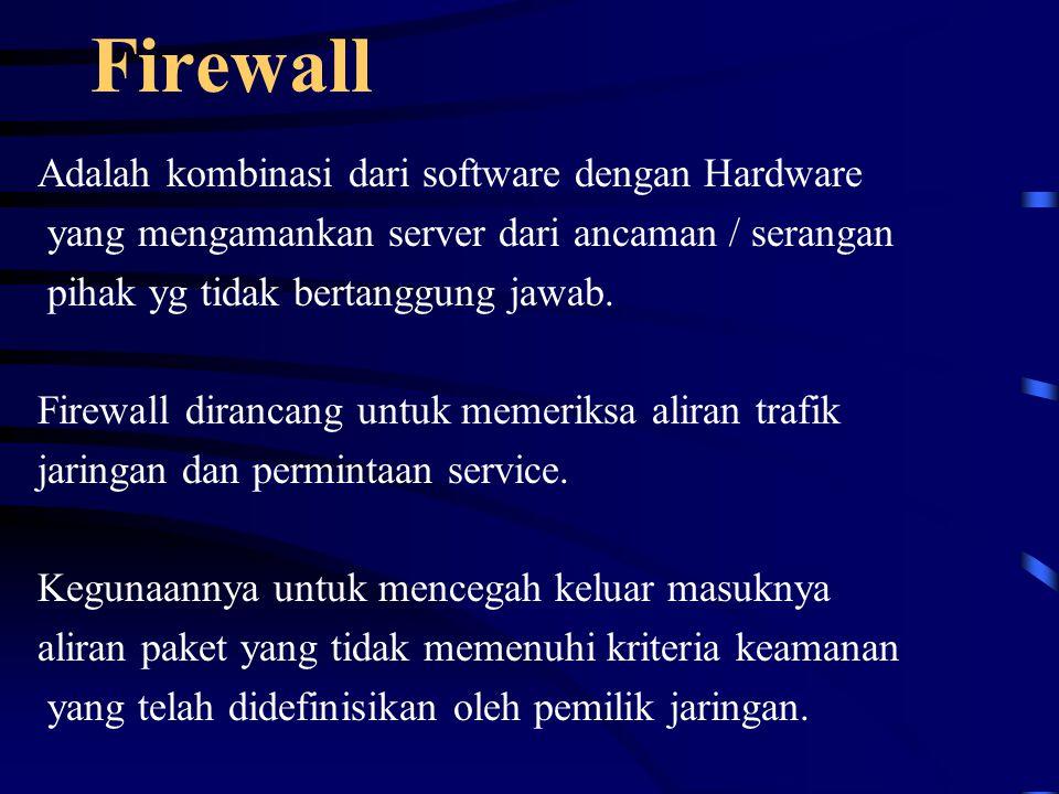 Firewall Adalah kombinasi dari software dengan Hardware yang mengamankan server dari ancaman / serangan pihak yg tidak bertanggung jawab.