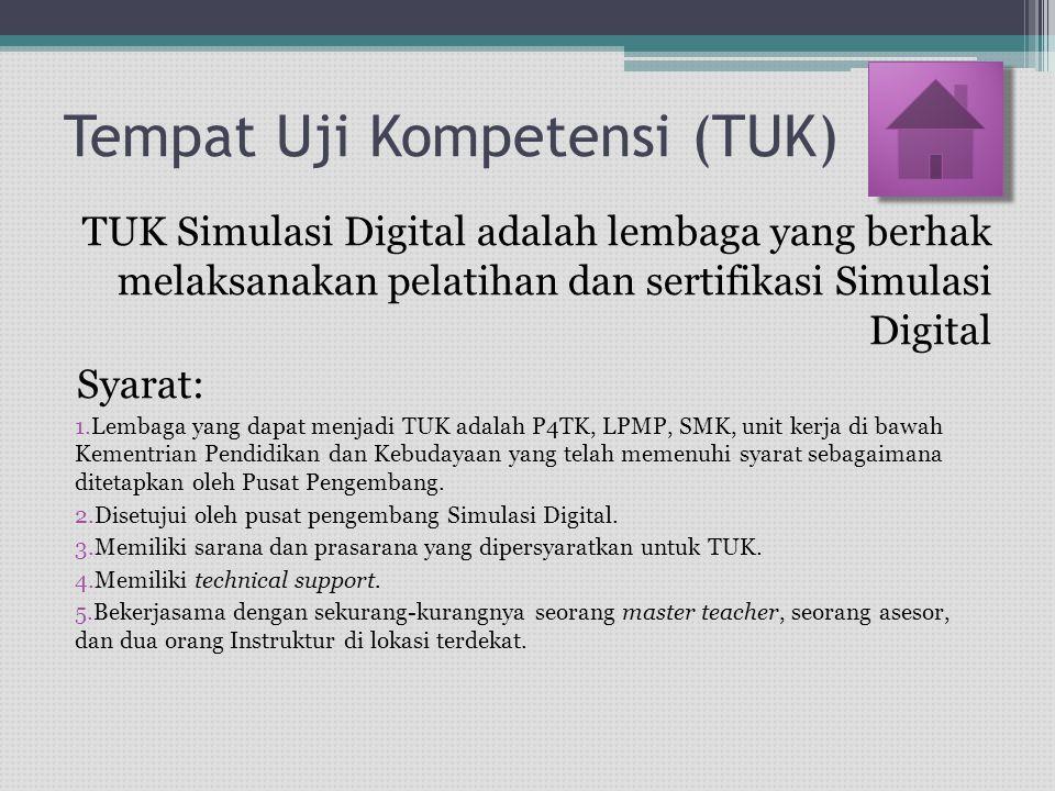 Tempat Uji Kompetensi (TUK) Syarat: 6.TUK diusulkan oleh Dinas Pendidikan Kota/Kabupaten atau direktorat terkait.