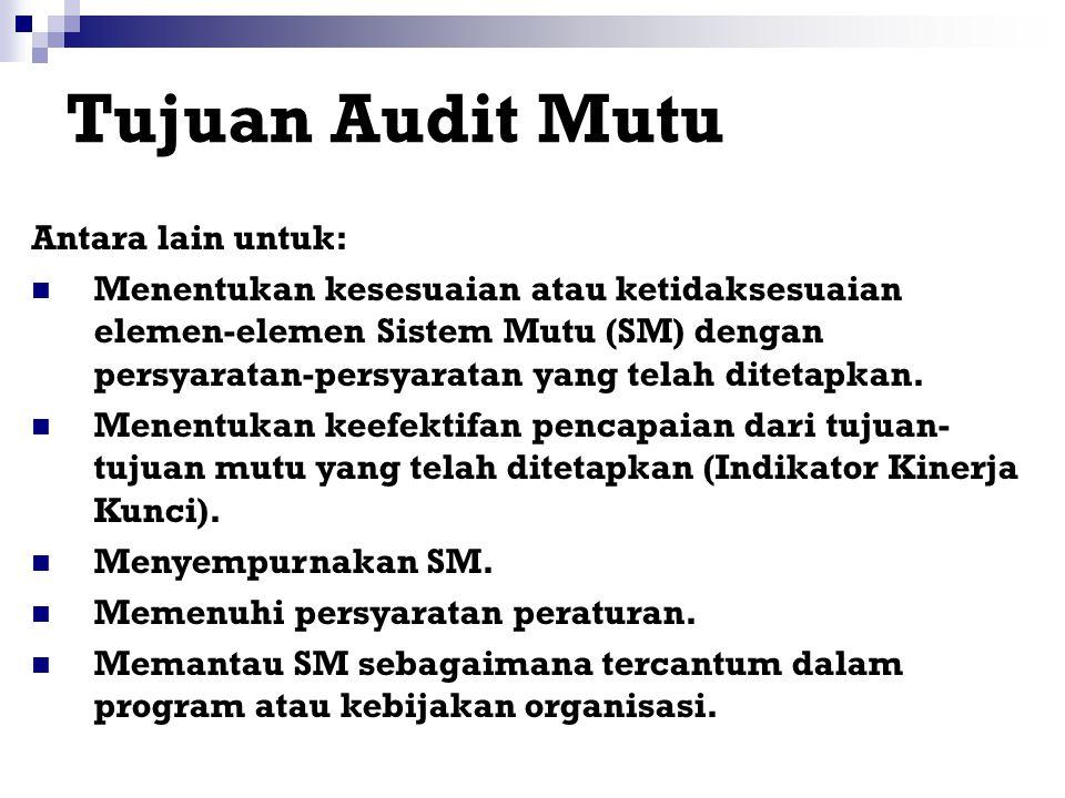 Tipe-tipe Lain Audit Pengamatan: untuk memantau kendali proses. Inspeksi: untuk penerimaan produk. Penilaian: untuk pertimbangan berdasar hasil evalua