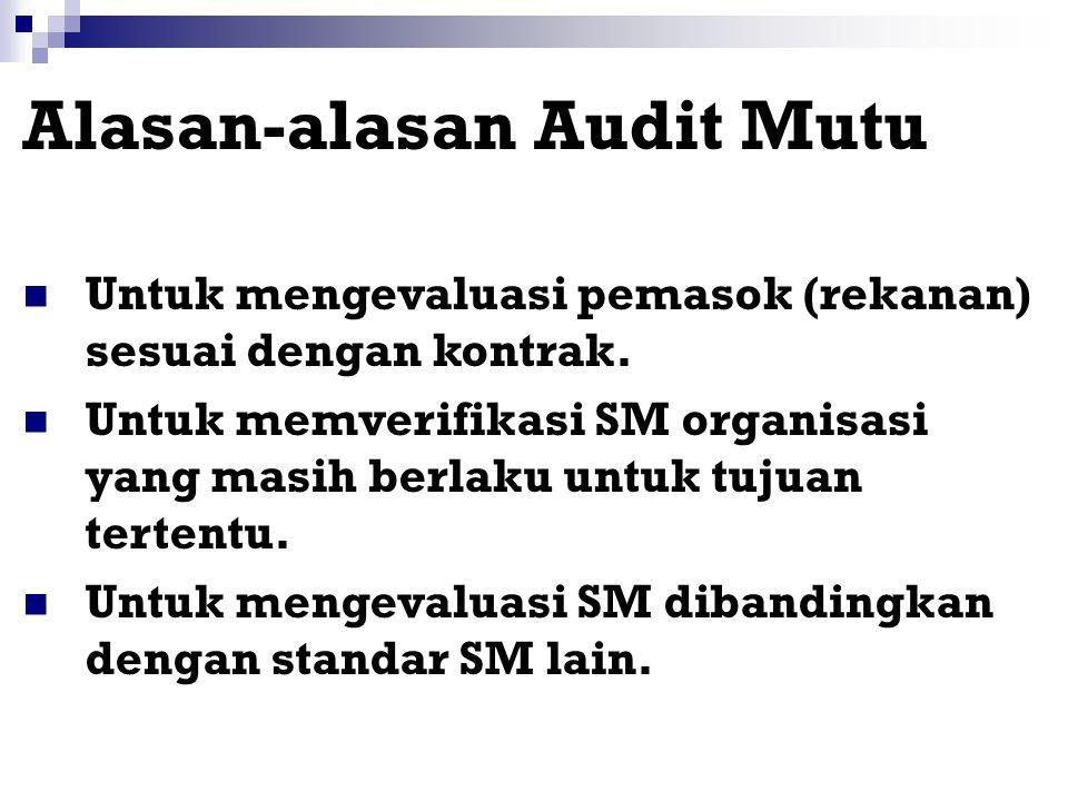 Tujuan Audit Mutu Antara lain untuk: Menentukan kesesuaian atau ketidaksesuaian elemen-elemen Sistem Mutu (SM) dengan persyaratan-persyaratan yang tel
