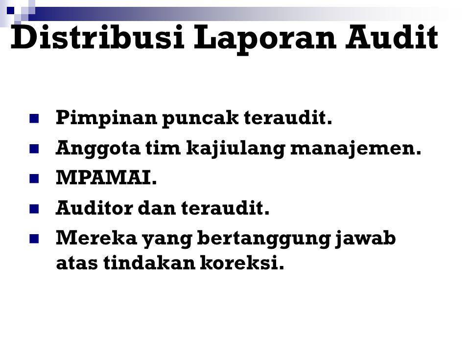 Isi Laporan Audit Lingkup dan tujuan. Jadwal audit. Nama-nama anggota tim audit. Nama-nama obyek teraudit. Rincian dokumen acuan. Ringkasan KTS, obser
