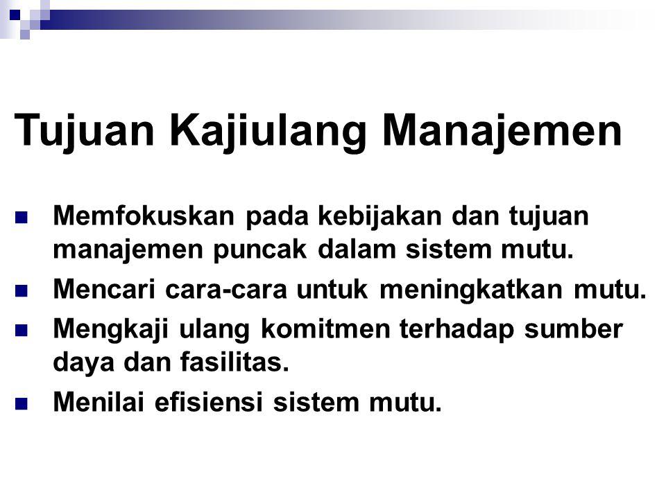 Kajiulang Manajemen Proses terencana, melibatkan sistem mutu organisasi yang menunjukkan adanya kepemimpinan dan komitmen manajemen puncak.