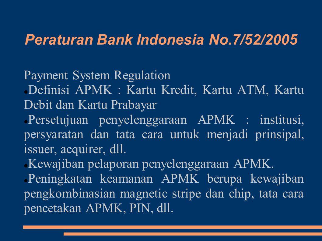 Peraturan Bank Indonesia No.7/52/2005 Payment System Regulation Definisi APMK : Kartu Kredit, Kartu ATM, Kartu Debit dan Kartu Prabayar Persetujuan pe