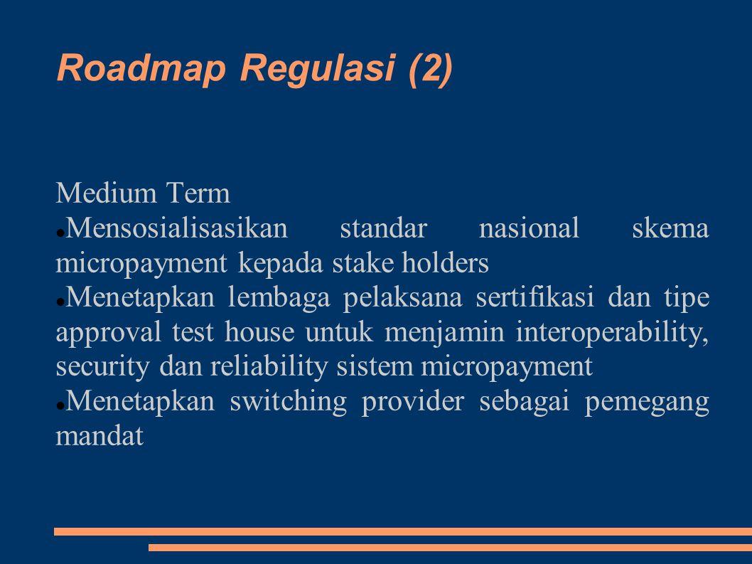 Roadmap Regulasi (2) Medium Term Mensosialisasikan standar nasional skema micropayment kepada stake holders Menetapkan lembaga pelaksana sertifikasi