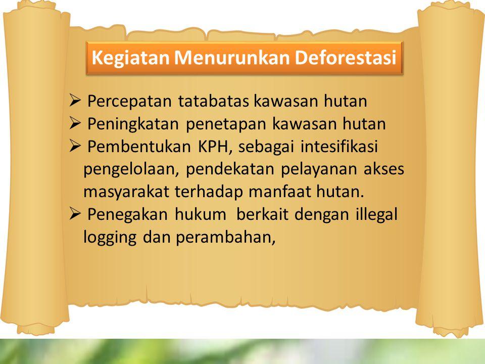  Percepatan tatabatas kawasan hutan  Peningkatan penetapan kawasan hutan  Pembentukan KPH, sebagai intesifikasi pengelolaan, pendekatan pelayanan a