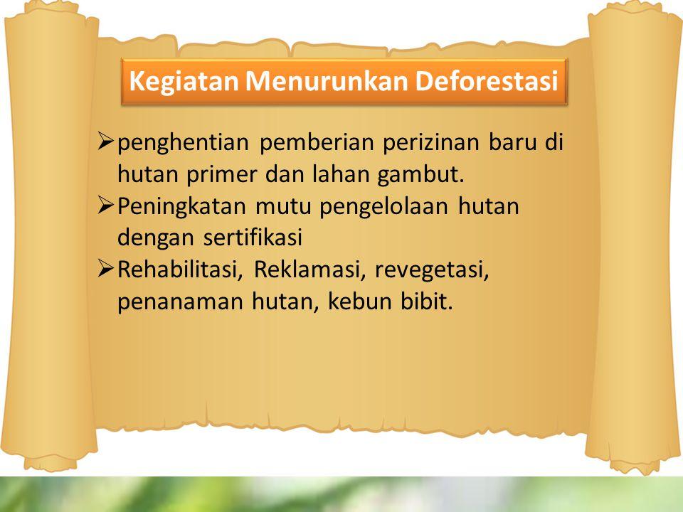  penghentian pemberian perizinan baru di hutan primer dan lahan gambut.  Peningkatan mutu pengelolaan hutan dengan sertifikasi  Rehabilitasi, Rekla