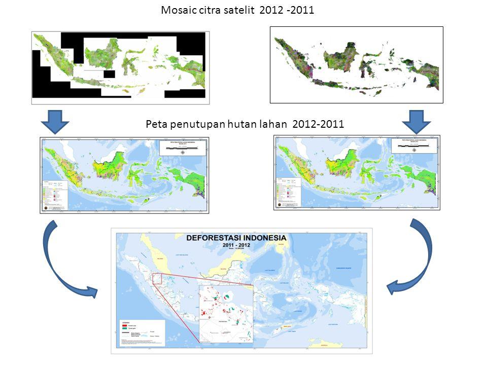 Mosaic citra satelit 2012 -2011 Peta penutupan hutan lahan 2012-2011