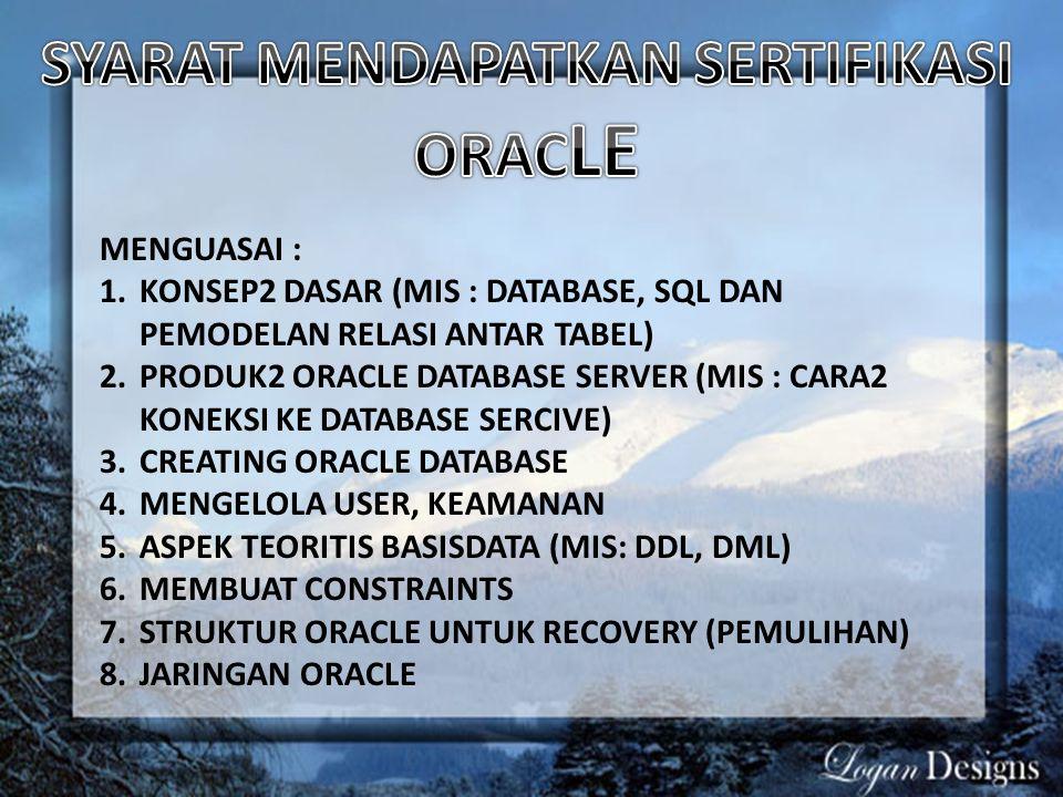 MENGUASAI : 1.KONSEP2 DASAR (MIS : DATABASE, SQL DAN PEMODELAN RELASI ANTAR TABEL) 2.PRODUK2 ORACLE DATABASE SERVER (MIS : CARA2 KONEKSI KE DATABASE S