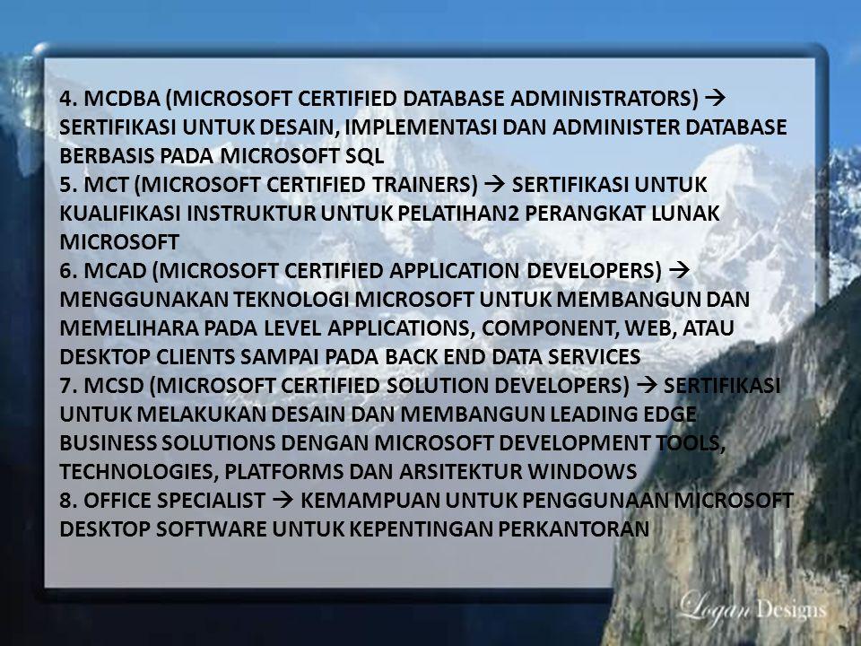 4. MCDBA (MICROSOFT CERTIFIED DATABASE ADMINISTRATORS)  SERTIFIKASI UNTUK DESAIN, IMPLEMENTASI DAN ADMINISTER DATABASE BERBASIS PADA MICROSOFT SQL 5.