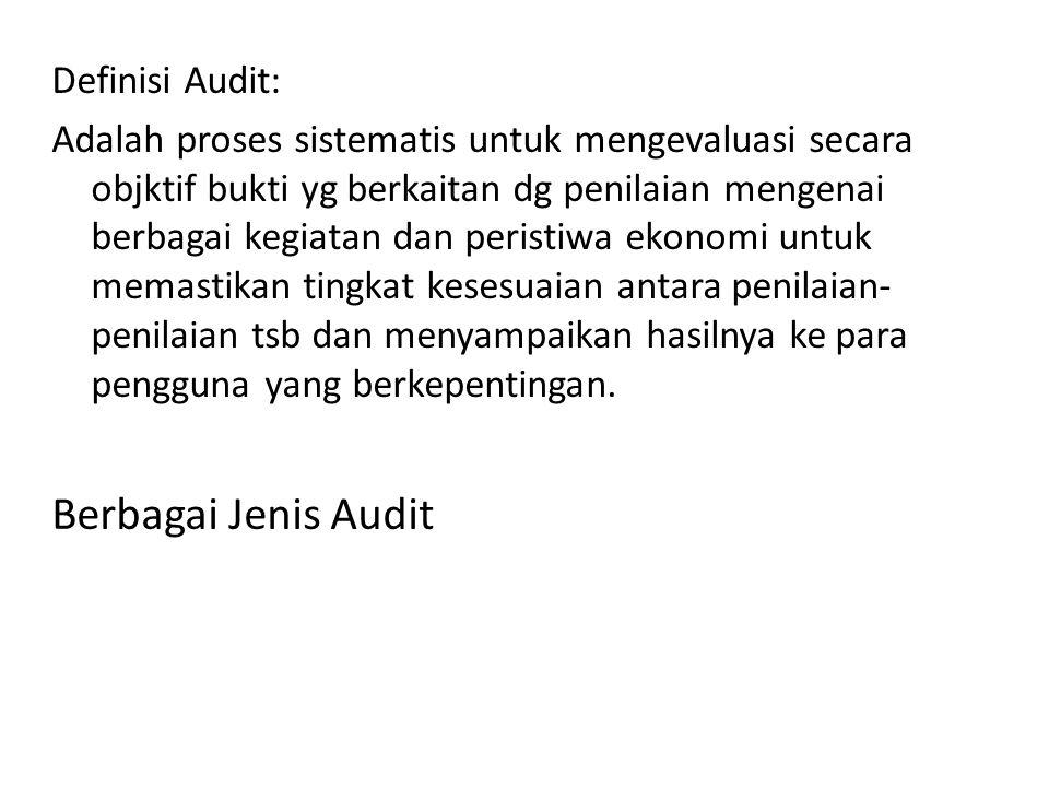 Definisi Audit: Adalah proses sistematis untuk mengevaluasi secara objktif bukti yg berkaitan dg penilaian mengenai berbagai kegiatan dan peristiwa ek