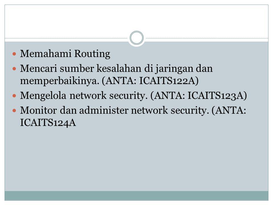 Memahami Routing Mencari sumber kesalahan di jaringan dan memperbaikinya. (ANTA: ICAITS122A) Mengelola network security. (ANTA: ICAITS123A) Monitor da