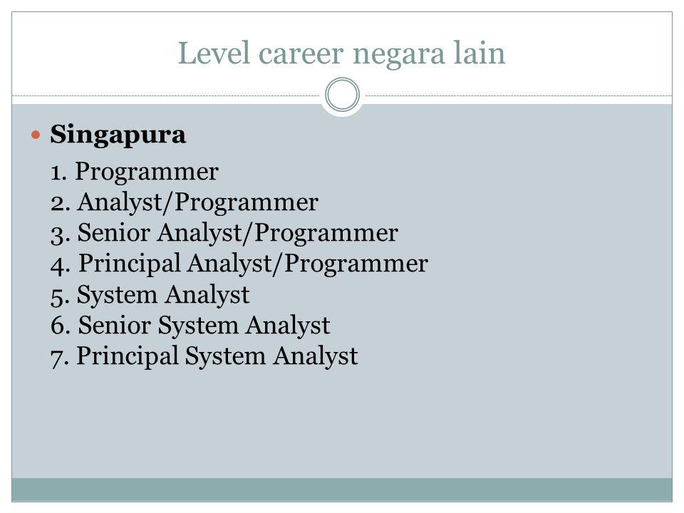 Level career negara lain Singapura 1. Programmer 2. Analyst/Programmer 3. Senior Analyst/Programmer 4. Principal Analyst/Programmer 5. System Analyst