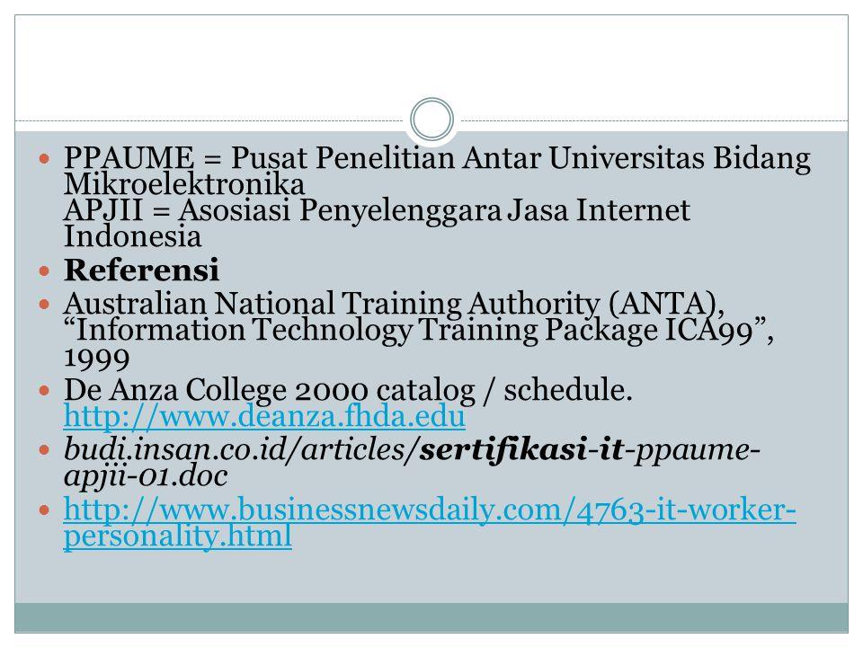 PPAUME = Pusat Penelitian Antar Universitas Bidang Mikroelektronika APJII = Asosiasi Penyelenggara Jasa Internet Indonesia Referensi Australian Nation