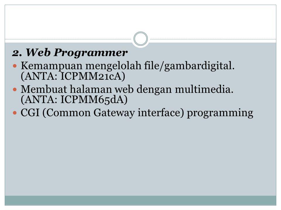 2. Web Programmer Kemampuan mengelolah file/gambardigital. (ANTA: ICPMM21cA) Membuat halaman web dengan multimedia. (ANTA: ICPMM65dA) CGI (Common Gate