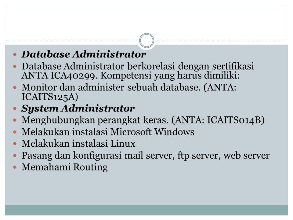 Database Administrator Database Administrator berkorelasi dengan sertifikasi ANTA ICA40299. Kompetensi yang harus dimiliki: Monitor dan administer seb