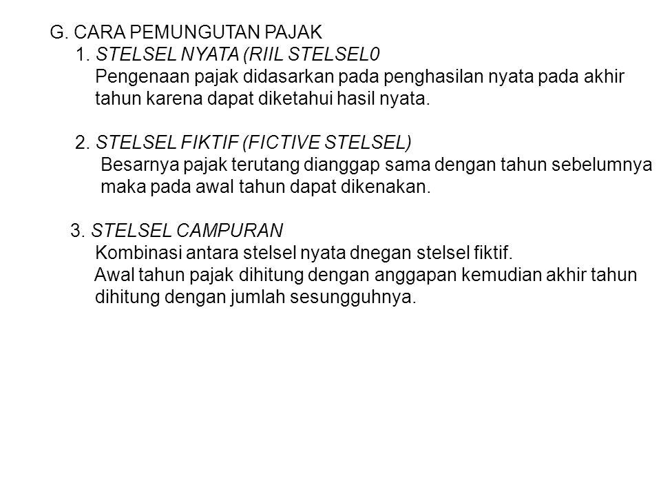 G.CARA PEMUNGUTAN PAJAK 1.