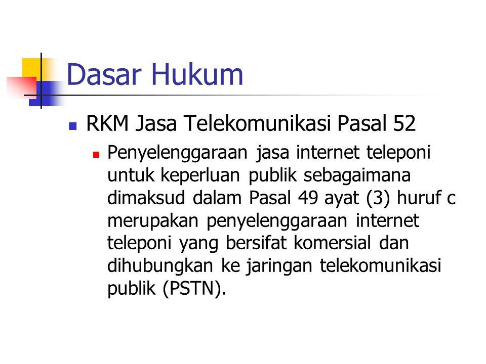 Dasar Hukum RKM Jasa Telekomunikasi Pasal 52 Penyelenggaraan jasa internet teleponi untuk keperluan publik sebagaimana dimaksud dalam Pasal 49 ayat (3
