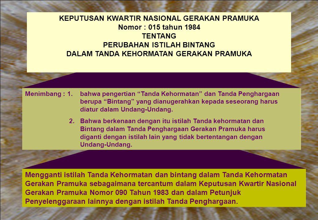 Mengganti istilah Tanda Kehormatan dan bintang dalam Tanda Kehormatan Gerakan Pramuka sebagaimana tercantum dalam Keputusan Kwartir Nasional Gerakan P