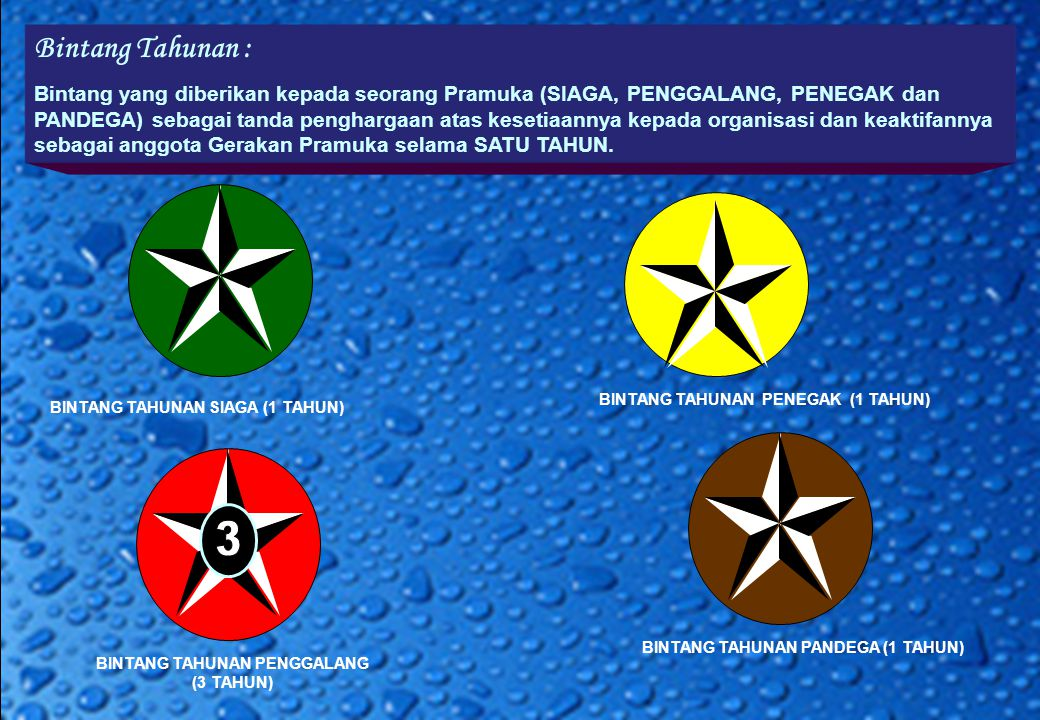 Bintang Tahunan : Bintang yang diberikan kepada seorang Pramuka (SIAGA, PENGGALANG, PENEGAK dan PANDEGA) sebagai tanda penghargaan atas kesetiaannya kepada organisasi dan keaktifannya sebagai anggota Gerakan Pramuka selama SATU TAHUN.
