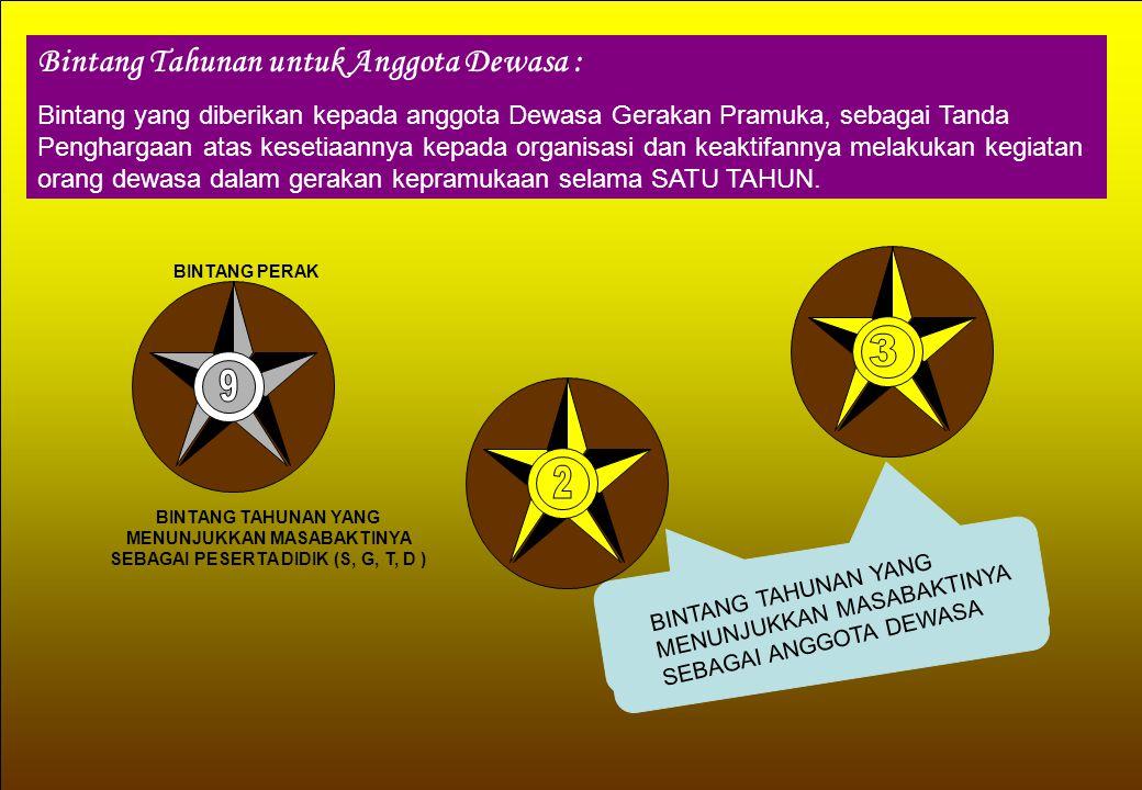 Bintang Tahunan untuk Anggota Dewasa : Bintang yang diberikan kepada anggota Dewasa Gerakan Pramuka, sebagai Tanda Penghargaan atas kesetiaannya kepad