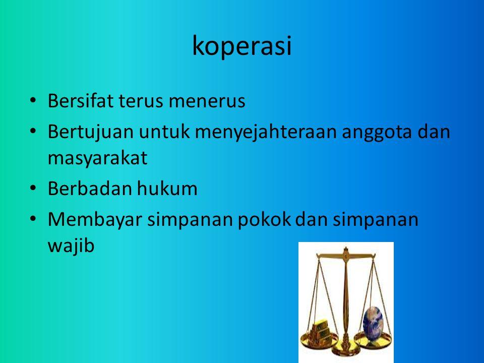 koperasi Bersifat terus menerus Bertujuan untuk menyejahteraan anggota dan masyarakat Berbadan hukum Membayar simpanan pokok dan simpanan wajib