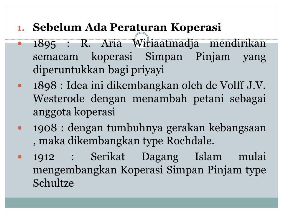 1. Sebelum Ada Peraturan Koperasi 1895 : R. Aria Wiriaatmadja mendirikan semacam koperasi Simpan Pinjam yang diperuntukkan bagi priyayi 1898 : Idea in
