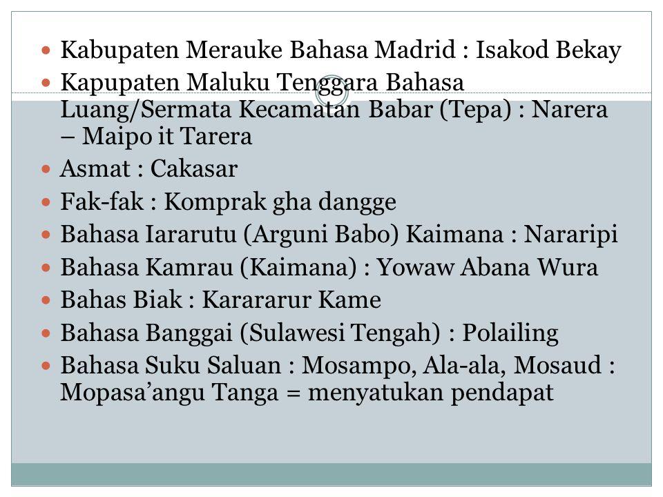 Kabupaten Merauke Bahasa Madrid : Isakod Bekay Kapupaten Maluku Tenggara Bahasa Luang/Sermata Kecamatan Babar (Tepa) : Narera – Maipo it Tarera Asmat