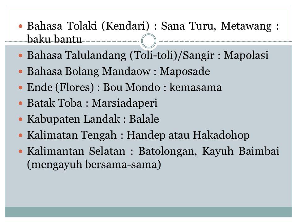 Bahasa Tolaki (Kendari) : Sana Turu, Metawang : baku bantu Bahasa Talulandang (Toli-toli)/Sangir : Mapolasi Bahasa Bolang Mandaow : Maposade Ende (Flo