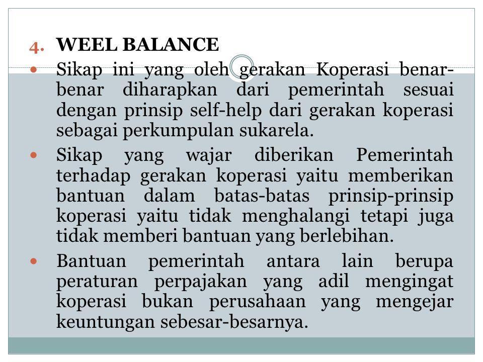 4. WEEL BALANCE Sikap ini yang oleh gerakan Koperasi benar- benar diharapkan dari pemerintah sesuai dengan prinsip self-help dari gerakan koperasi seb