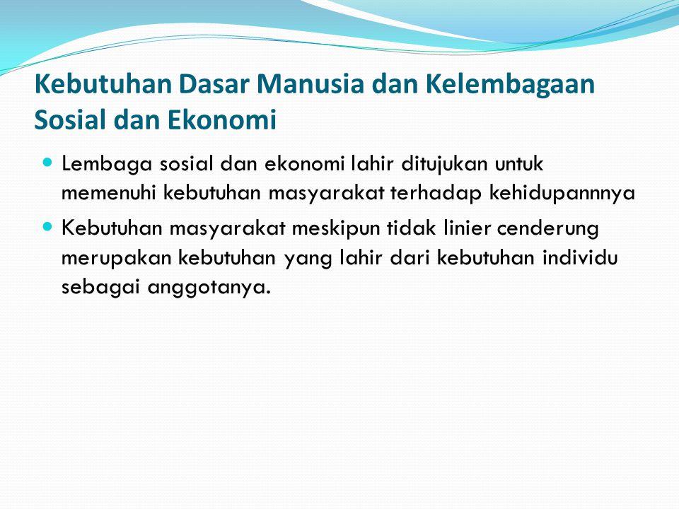 Kebutuhan Dasar Manusia dan Kelembagaan Sosial dan Ekonomi Lembaga sosial dan ekonomi lahir ditujukan untuk memenuhi kebutuhan masyarakat terhadap keh
