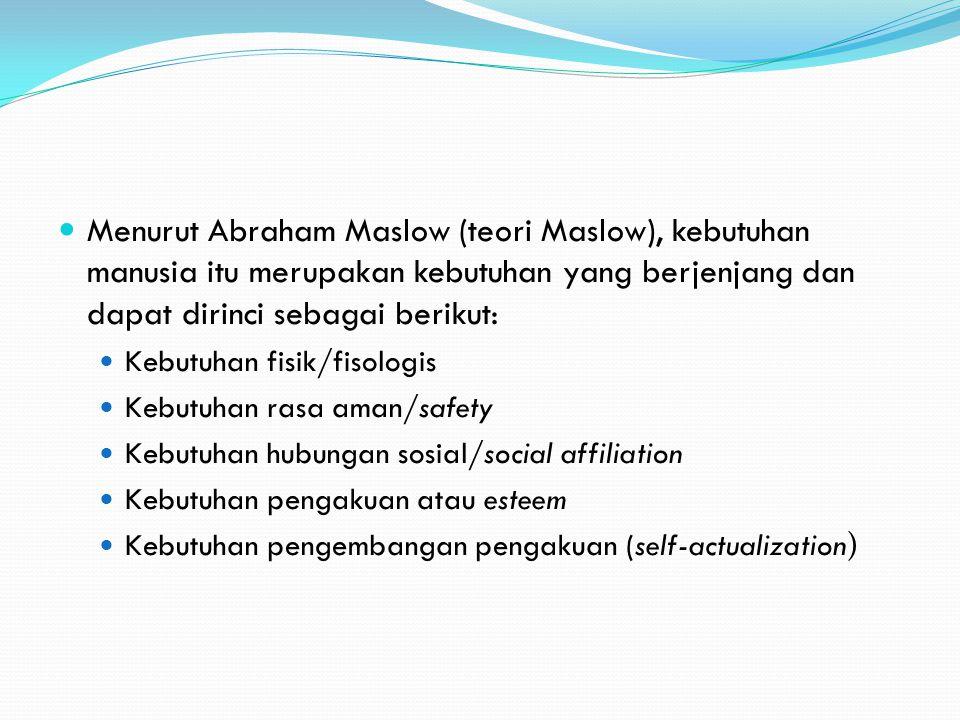 Menurut Abraham Maslow (teori Maslow), kebutuhan manusia itu merupakan kebutuhan yang berjenjang dan dapat dirinci sebagai berikut: Kebutuhan fisik/fi