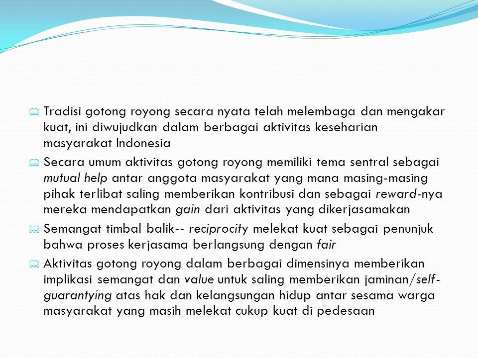  Tradisi gotong royong secara nyata telah melembaga dan mengakar kuat, ini diwujudkan dalam berbagai aktivitas keseharian masyarakat Indonesia  Seca