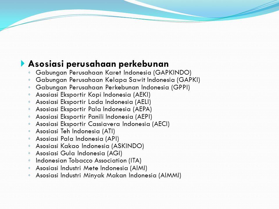  Asosiasi perusahaan perkebunan ◦ Gabungan Perusahaan Karet Indonesia (GAPKINDO) ◦ Gabungan Perusahaan Kelapa Sawit Indonesia (GAPKI) ◦ Gabungan Peru