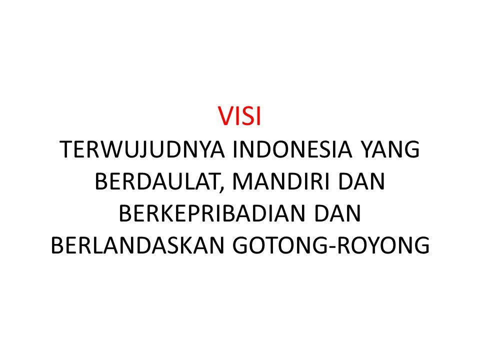 MISI 1.Mewujudkan keamanan nasional yang mampu menjaga kedaulatan wilayah, menopang kemandirian ekonomi dengan mengamankan sumber daya maritim, dan mencerminkan kepribadian Indonesia sebagai negara kepulauan 2.Mewujudkan masyarakat maju, berkeseimbangan dan demokratis berlandaskan Negara hukum 3.Mewujudkan politik luar negeri bebas aktif dan memperkuat jati diri sebagai negara maritim 4.Mewujudkan kualitas hidup manusia Indonesia yang tinggi, maju, dan sejahtera 5.Mewujudkan bangsa yang berdaya saing 6.Mewujudkan Indonesia menjadi negara maritim yang mandiri, maju, kuat, dan berbasiskan kepentingan nasional 7.Mewujudkan masyarakat yang berkepribadian dalam kebudayaan