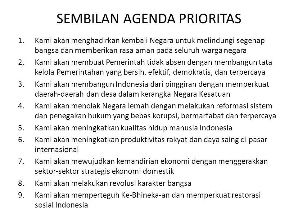 SEMBILAN AGENDA PRIORITAS 1.Kami akan menghadirkan kembali Negara untuk melindungi segenap bangsa dan memberikan rasa aman pada seluruh warga negara 2.Kami akan membuat Pemerintah tidak absen dengan membangun tata kelola Pemerintahan yang bersih, efektif, demokratis, dan terpercaya 3.Kami akan membangun Indonesia dari pinggiran dengan memperkuat daerah-daerah dan desa dalam kerangka Negara Kesatuan 4.Kami akan menolak Negara lemah dengan melakukan reformasi sistem dan penegakan hukum yang bebas korupsi, bermartabat dan terpercaya 5.Kami akan meningkatkan kualitas hidup manusia Indonesia 6.Kami akan meningkatkan produktivitas rakyat dan daya saing di pasar internasional 7.Kami akan mewujudkan kemandirian ekonomi dengan menggerakkan sektor-sektor strategis ekonomi domestik 8.Kami akan melakukan revolusi karakter bangsa 9.Kami akan memperteguh Ke-Bhineka-an dan memperkuat restorasi sosial Indonesia