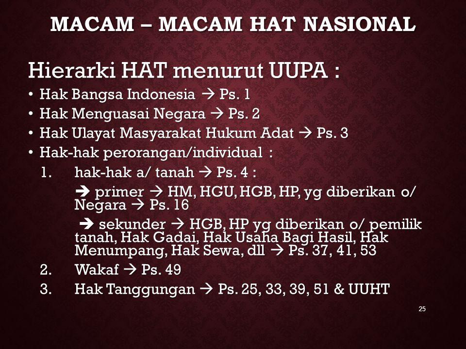 MACAM – MACAM HAT NASIONAL Hierarki HAT menurut UUPA : Hak Bangsa Indonesia  Ps. 1 Hak Bangsa Indonesia  Ps. 1 Hak Menguasai Negara  Ps. 2 Hak Meng