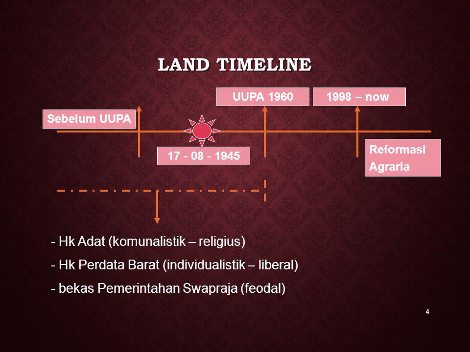 LAND TIMELINE 4 Reformasi Agraria Sebelum UUPA - Hk Adat (komunalistik – religius) - Hk Perdata Barat (individualistik – liberal) - bekas Pemerintahan