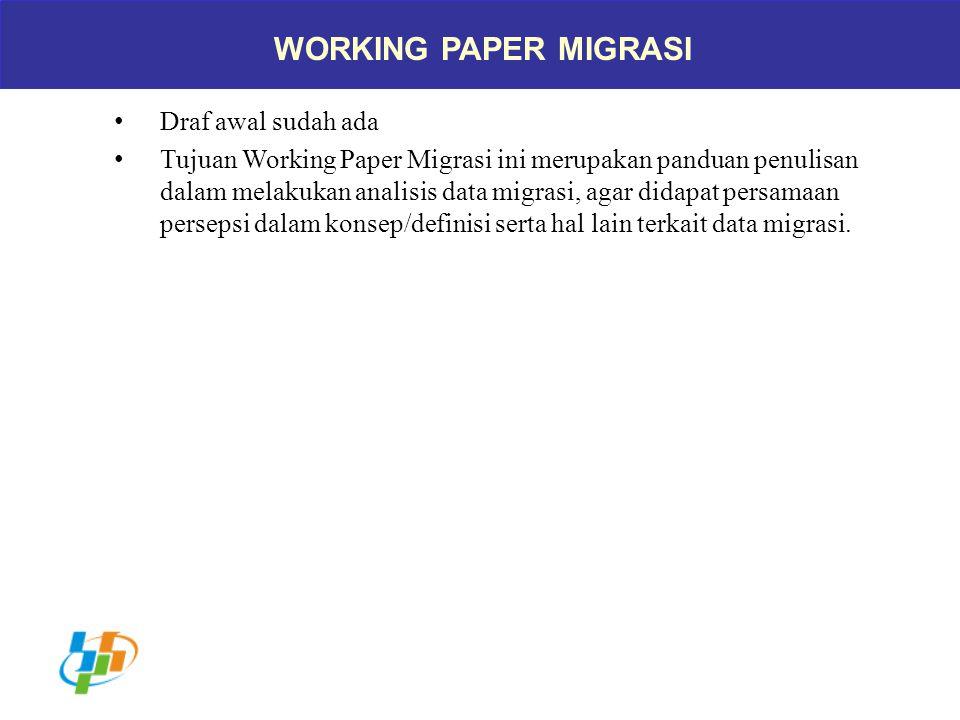WORKING PAPER MIGRASI Draf awal sudah ada Tujuan Working Paper Migrasi ini merupakan panduan penulisan dalam melakukan analisis data migrasi, agar did