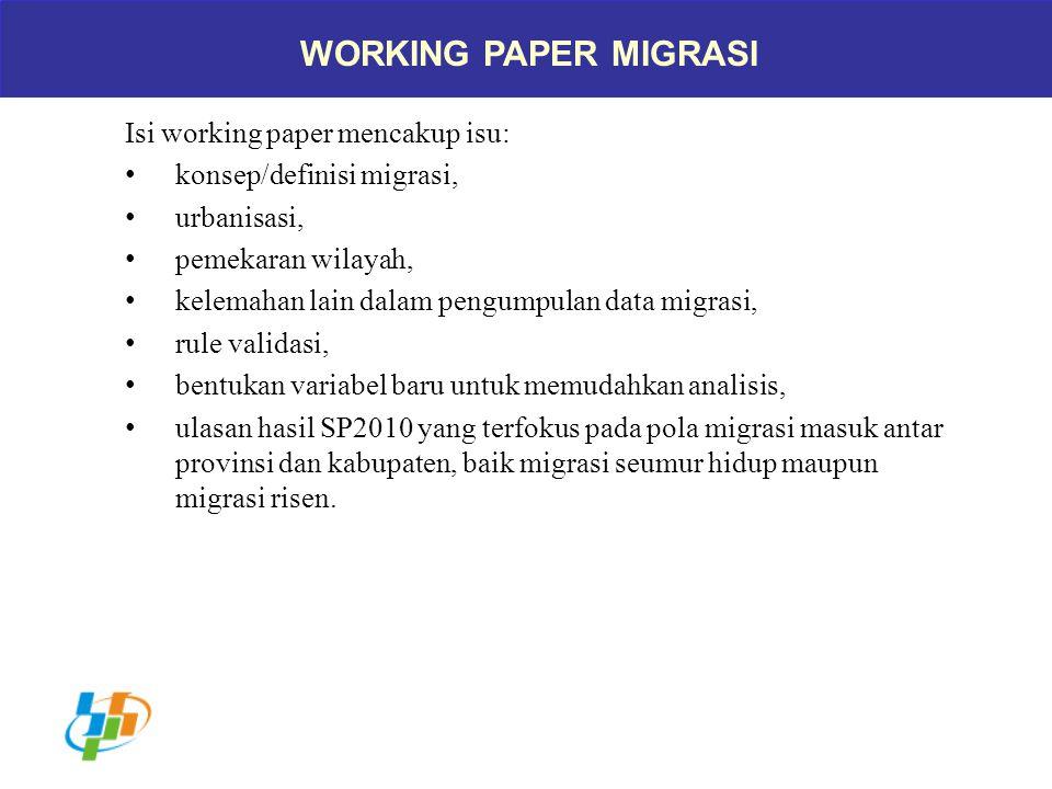 WORKING PAPER MIGRASI Isi working paper mencakup isu: konsep/definisi migrasi, urbanisasi, pemekaran wilayah, kelemahan lain dalam pengumpulan data mi