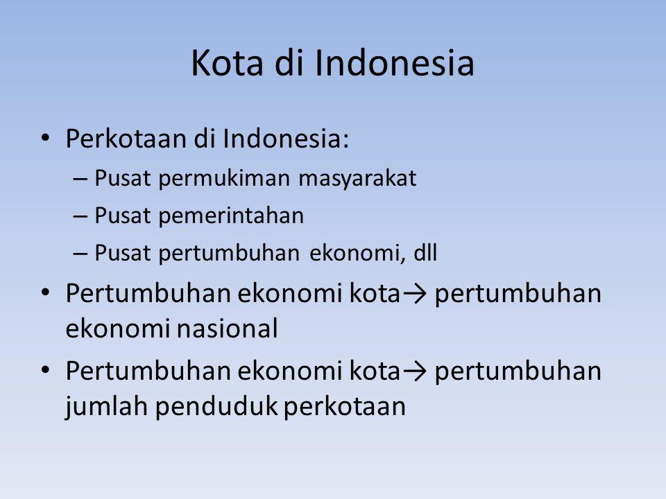 Kota di Indonesia Jumlah penduduk kota Tahun 1990: 31,1% Tahun 1995: 35,9% Tahun 2003: 55,3%